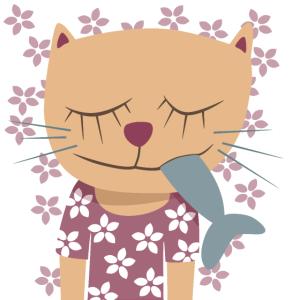 Poster Deko Kinderzimmer Katze Frühling Illu