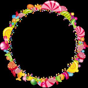 Ein runder Rahmen aus Süßigkeiten für eigene Texte