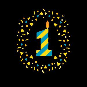 Erster Geburtstag - 1 gelb blau mit Konfetti