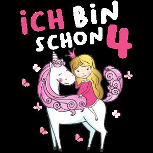 Kinder Mädchen Einhorn Fee 4. Geburtstag 4 Jahre