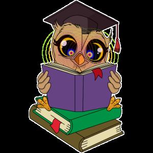 Lese Eule mit Büchern