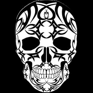 Tribal Totenkopf,schwarz auf weiß