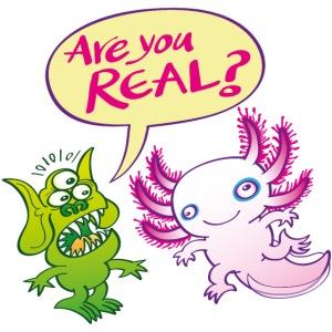 Alien surprised wonders if the axolotl is real