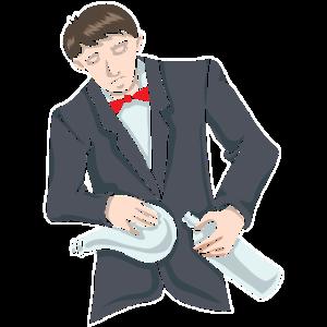 Gentlemen mit rote Fliege, Flasche und Tuch