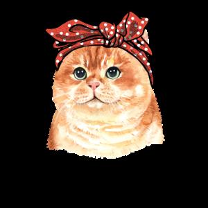 Fluffige Katze Miez Kopftuch Bandana Geschenk