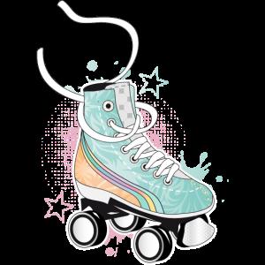 Rollschuh in Retro Farben mit Graffiti und Sterne