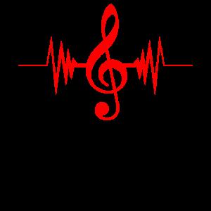 Musik Herzschlag Notenschlüssel Musiker Puls Gesch