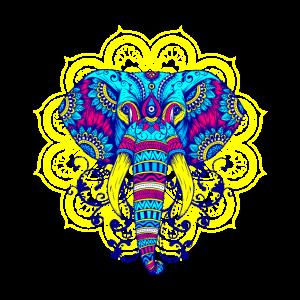 Buntes Mandala Elefant Mantra