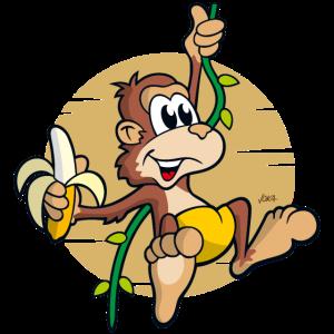 freches kleines Comic-Äffchen mit Banane