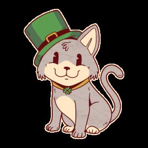 Irische Katze mit grünem Hut Kobold Katze