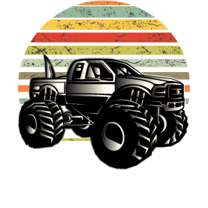 Monster Truck Retro Design Damen Herren Kinder
