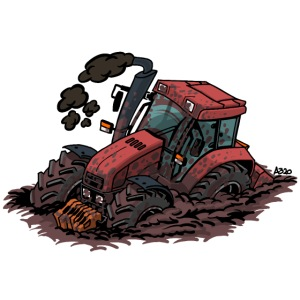 898 Red tractor stuck
