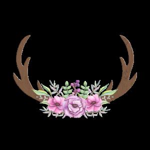 Hirsch-Geweih-Blumen-Boho personalisierbar