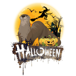 Otter Lovers Halloween Pumpkins Flying Witch Funny