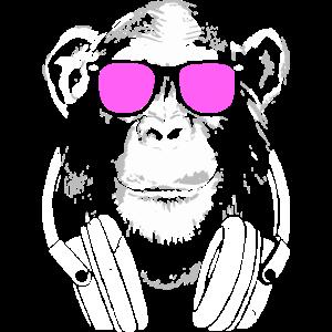 Affe DJ mit Kopfhörer und Sonnenbrille Geschenk