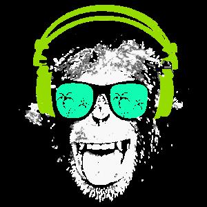 Monkey DJ mit Kopfhörer und Sonnenbrille Geschenk