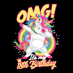 Geburtstag 18 Einhorn OMG