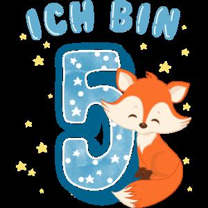 Ich bin 5 Fünf Jahre alt Fünfter Geburtstag Fuchs