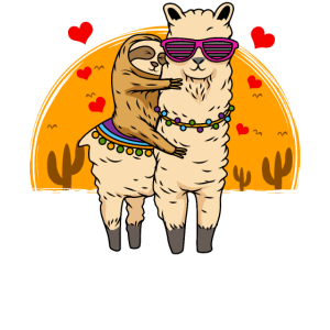Faultierreiten Lama Cute Fluffy Lama & Sleepy Sloth