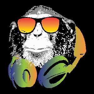 Affe DJ Kopfhörer Sonnenbrille