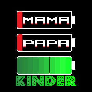 mama papa kinder witziges Akku Design für Eltern