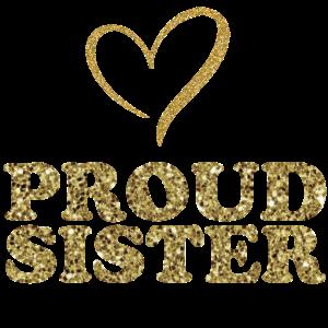 Große Stolze Schwester 2021 Glitzer Geschenk