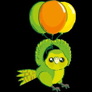 Kakapo mit Luftballons