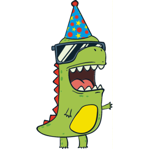 Dinosaurier mit Partyhut - T-Rex Dino Geburtstag
