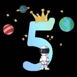 5 Jahre Astronaut Planeten Krone personalisierbar