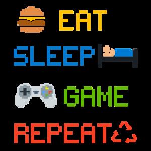 Gamer Zocker Eat Sleep Game Repeat Spiele Fan