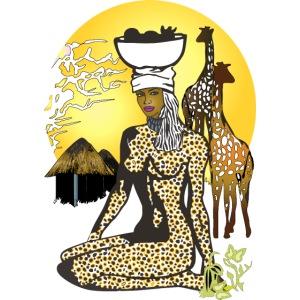 África Vintage | Retro Fantasía | Mujer y Jirafas