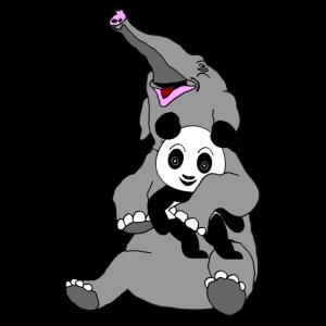 Panda spielt mit Elefanten