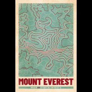 Mount Everest | Landkarte Topografie (Retro)