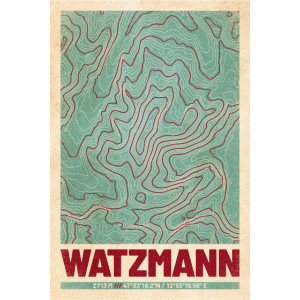 Watzmann | Landkarte Topografie (Retro)