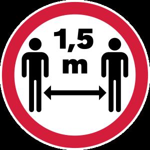 1,5 Meter Abstand Schild (Coronavirus / COVID-19)