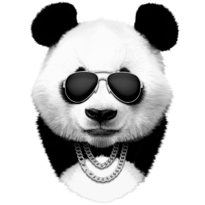 Panda in Schwarz
