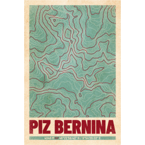 Piz Bernina | Landkarte Topografie (Retro)