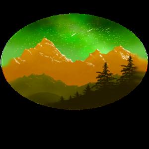Bergkette unter Sternenhimmel und Milchstrasse