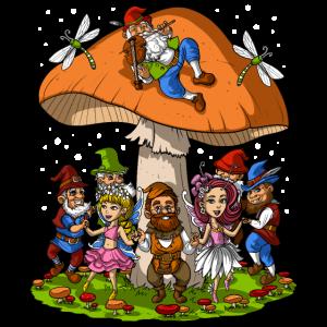 Magic Mushrooms Gnomes Party