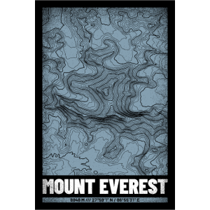 Mount Everest | Landkarte Topografie (Grunge)