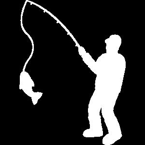 Fischer mit Angelrute und Fisch
