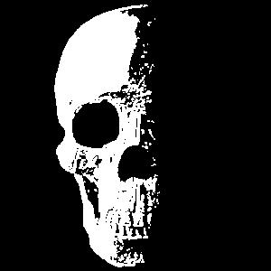 Totenschädel halb