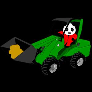 Panda in der Schaufel