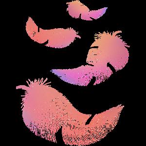 Federn in rosa und lila Farben