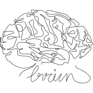 Brain Line Art White