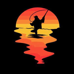 Fliegenfischer Angelrute Flugangeln Sonnenaufgang