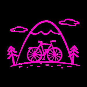 Comic Fahrradtour mit Bergen und Wald