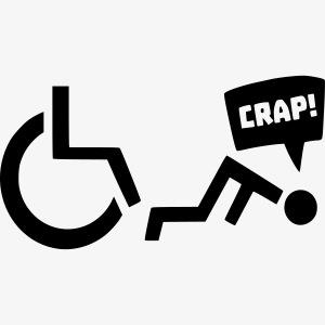 > Soms heb je pech en val je uit je rolstoel