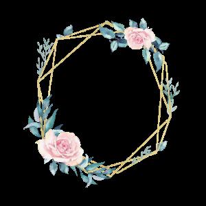 Blumen Geometrisch Blau Rosa personalisierbar