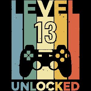 Geburtstag 13. Level Geboren 2007 Gamer Geschenk